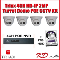 Triax 2MP 4 Camera HD IP CCTV Kit