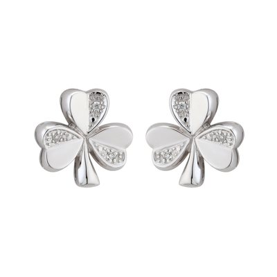 14K WHITE GOLD DIAMOND SHAMROCK STUD EARRINGS