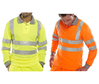 Long Sleeve Hi Visibility Polo Short Yellow or Orange