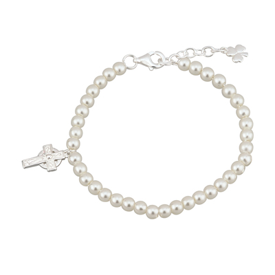 RHODIUM PLATED PEARL & CROSS BRACELET