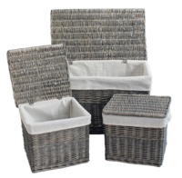 Grey Wicker Set Of 3 Trunks W/Lining Carton (1)