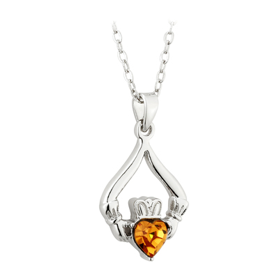 RHODIUM PLATED CLADDAGH BIRTHSTONE - NOVEMBER(BOXED)
