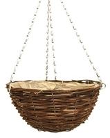 """Black Rattan Hanging Basket Round 18"""""""