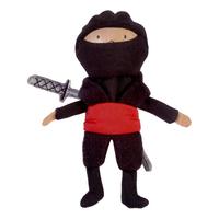 Red Ninja Wooden Head Finger Puppet.