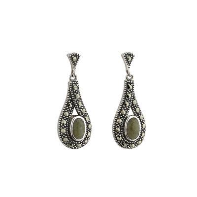 sterling silver connemara marble and marcasite celtic earrings s33397 from Solvar