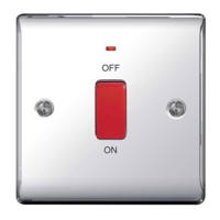 NEXUS POLISHED CHROME 45A DOUBLE POLE SWITCH WITH INDICATOR SINGLE PLATE