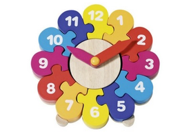 Colourful Wooden Puzzle Clock