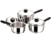 Pan Set 3Piece Black Handled 16cm, 18cm, 20cm Saucepans