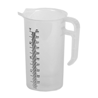 Clear graduated measuring jugs