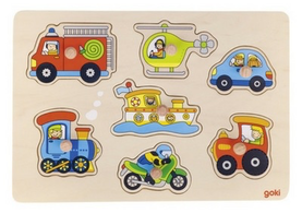 Wooden Peg Puzzle - Transport