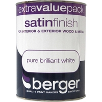 BERGER SATIN FINISH PAINT BRILLIANT WHITE 1.25 LTR