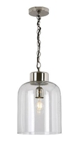 Vizor 1 Light Pendant, Nickel & Seeded Glass | LV1802.0111
