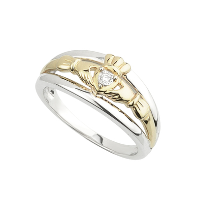 10K GOLD & DIAMOND CLADDAGH RING(BOXED)