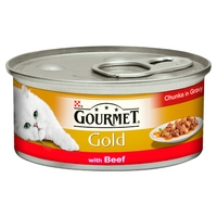 Gourmet Gold Cat Can Beef in Gravy 85g x 12