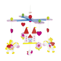 Colourful wooden princess mobile for above a crib
