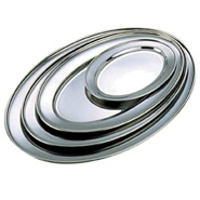 Meat Flat Oval Stainless Steel 250mm x 175mm