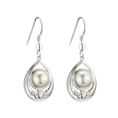 contemporary irish sterling silver glass pearl claddagh drop earrings S34138 from Solvar