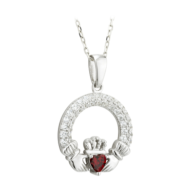 GARNET CLADDAGH PENDANT (JANUARY BIRTHSTONE) (BOXED)