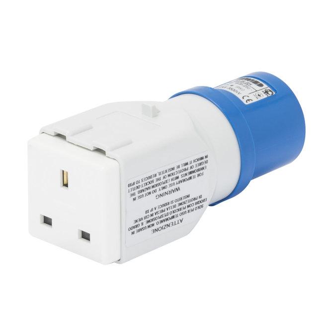 68216UK 240V 16 Amp Industrial Plug To 13 Amp Domestic Socket Converter//Adapter