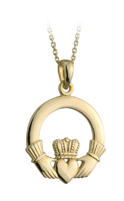 9K LARGE CLADDAGH PENDANT