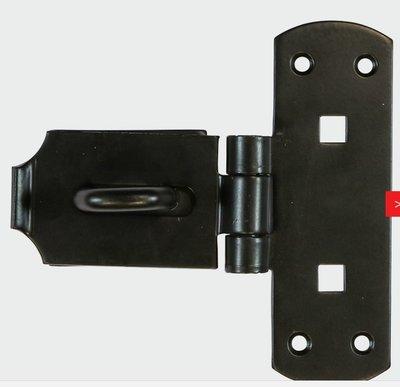 "Vertical Hasp & Staple Heavy 150mm (6"") Black"