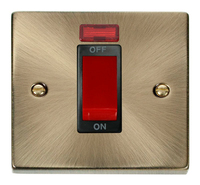 Click Deco Victorian Antique Brass with Black Insert Small Cooker Switch   LV0101.0020