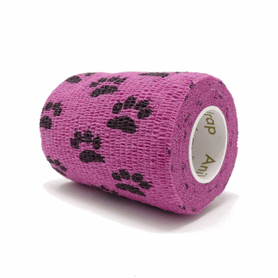 Purfect Aniwrap Cohesive Bandage Paw Print Pink 7.5cm