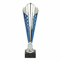 32cm Silver & Blue Plastic Contemp Cup