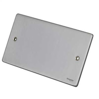 Schneider Ultimate Low Profile 2Gang blank plate Brushed Chrome | LV0701.0231
