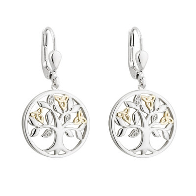 10K GOLD & DIAMOND SILVER TREE OF LIFE EARRINGS (BOXED)