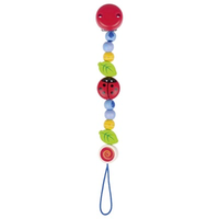 Wooden ladybird pacifier chain for baby's soother