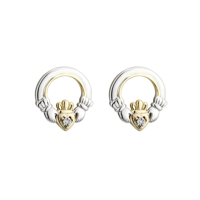 SILVER 10K GOLD & DIA CLADDAGH STUD EARRINGS(BOXED)