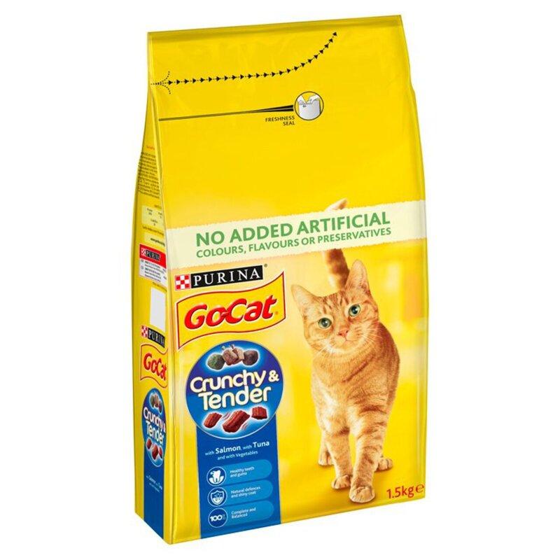 Go-Cat Crunchy & Tender Salmon Tuna & Vegetables 1.5kg