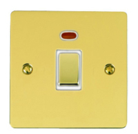 VICTORIAN BRASS HERITAGE  DOUBLE POLE SWITCH WITH NEON INDICATOR 20A