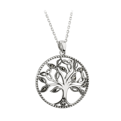 S/S MARCASITE TREE OF LIFE PENDANT