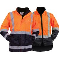 Bison Stamina Hi Vis Day/Night  5n1  Jacket/Vest Combo