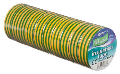 Vires Elec PVC Tape Green/Yellow 19mm x 20M