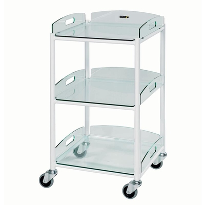 Dressing Trolley 46x52x86cm 3 Glass Effect Trays