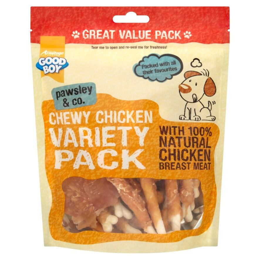 Good Boy Pawsley & Co. Dog Treats - Chewy Chicken Variety Pack 350g x 3