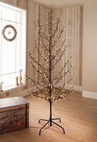 6ft Full Length Led Twig Tree Black