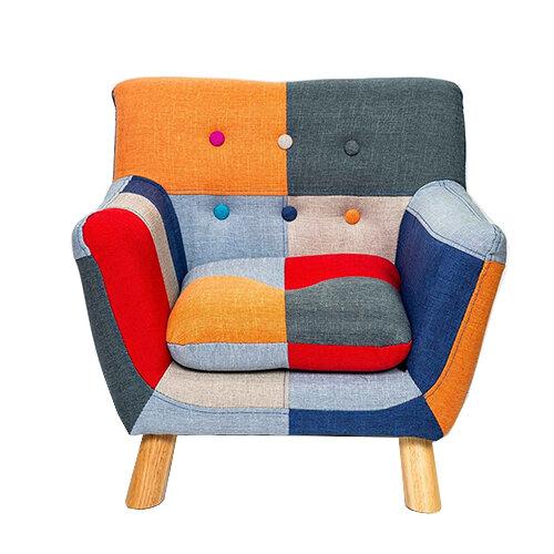 Annah Linen Patchwork Kids Chair FRONT VIEW