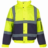 Supertouch Hi-Visibility 2 Tone Bomber Jacket, Yellow/Navy