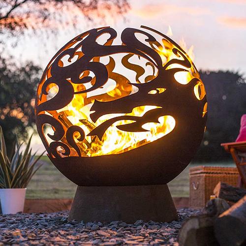 La Hacienda Leaves Globe Firepit lighting