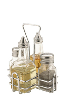 Condiment Set Glass 4 Piece with Stand