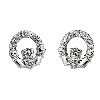 RHODIUM CRYSTAL CLADDAGH EARRINGS
