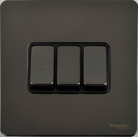 Schneider Ultimate Screwless 3Gang 2way Switch Black Nickel black|LV0701.0909