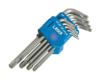 Star/Torx 6 Sided Key Set - Folding Clip 9 Piece