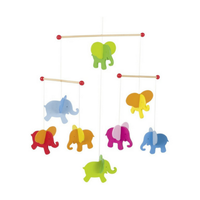 Colourful wooden elephant mobile for above a crib