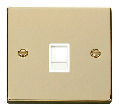 Click Deco Victorian Polished Brass with White Insert Single RJ11 Socket | LV0101.0167