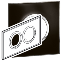 Arteor (British Standard) Plate 2x2m 2 Gang Round Mirror Black | LV0501.0164